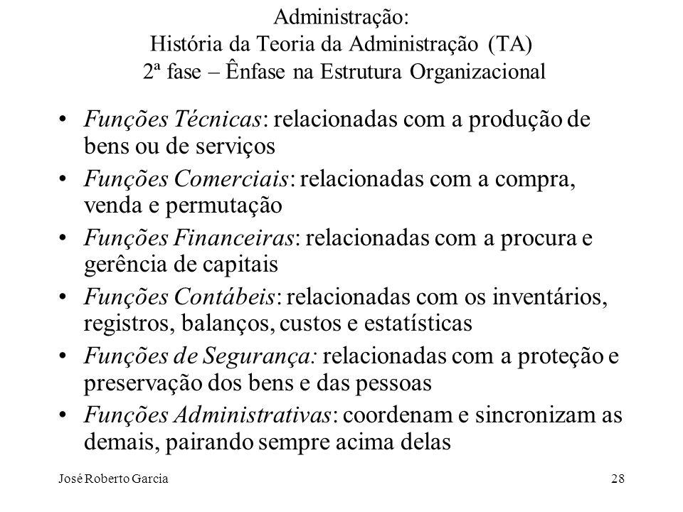 Funções Técnicas: relacionadas com a produção de bens ou de serviços