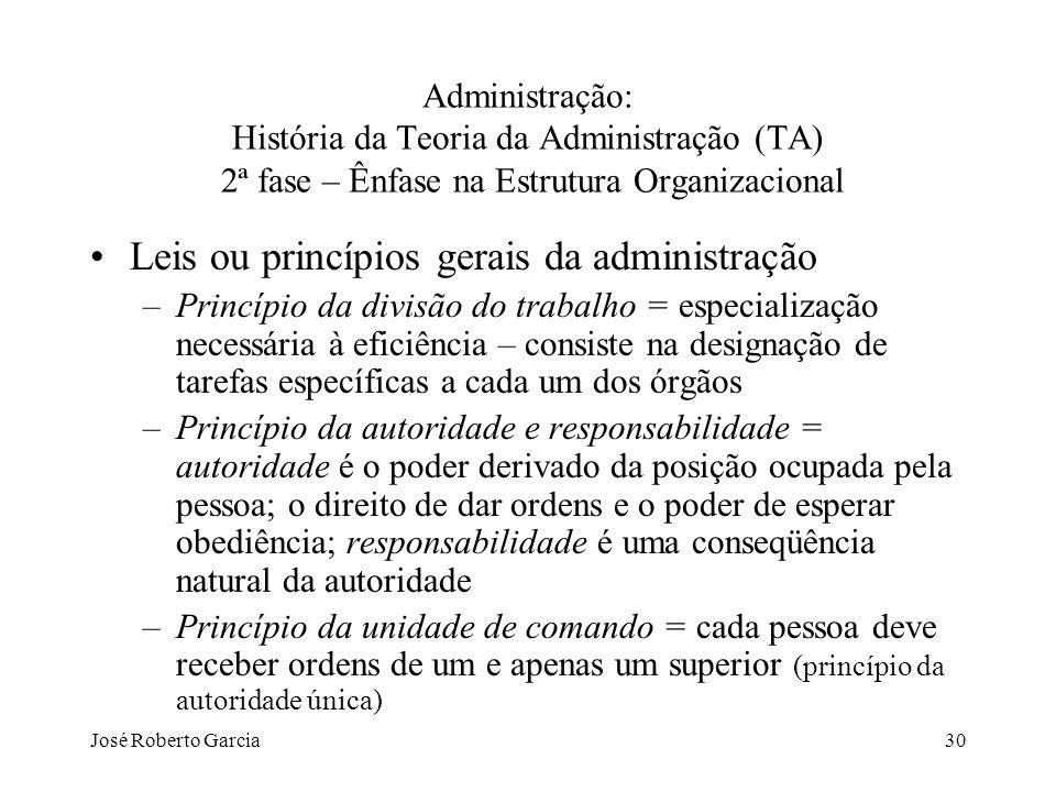 Leis ou princípios gerais da administração
