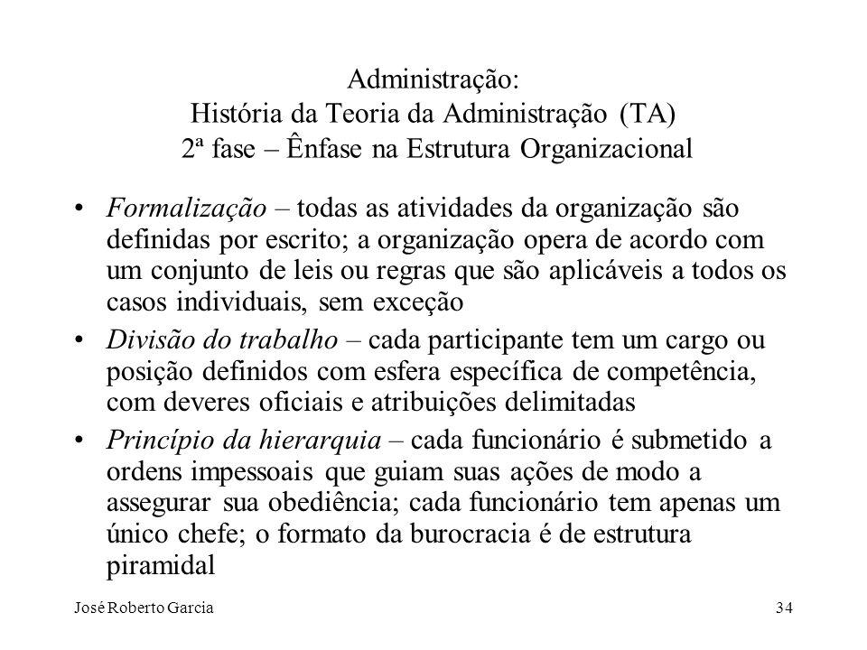 Administração: História da Teoria da Administração (TA) 2ª fase – Ênfase na Estrutura Organizacional