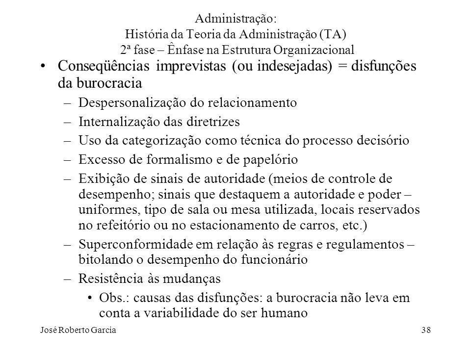 Conseqüências imprevistas (ou indesejadas) = disfunções da burocracia
