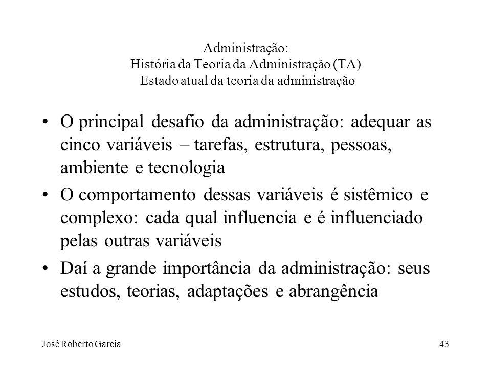 Administração: História da Teoria da Administração (TA) Estado atual da teoria da administração