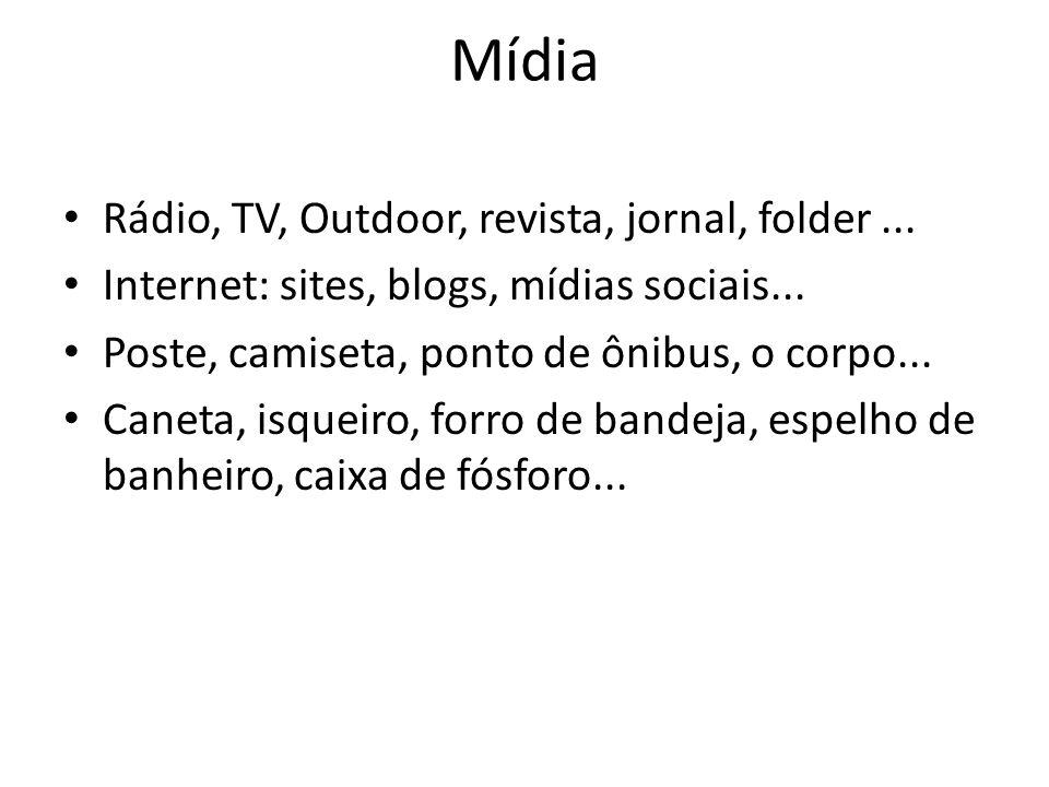 Mídia Rádio, TV, Outdoor, revista, jornal, folder ...