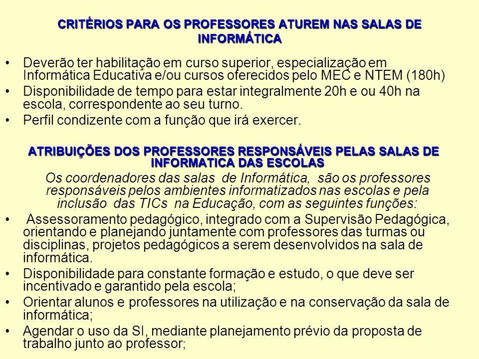 CRITÉRIOS PARA OS PROFESSORES ATUREM NAS SALAS DE INFORMÁTICA