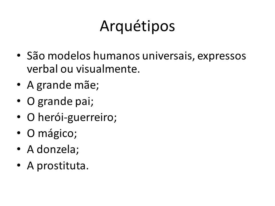 Arquétipos São modelos humanos universais, expressos verbal ou visualmente. A grande mãe; O grande pai;
