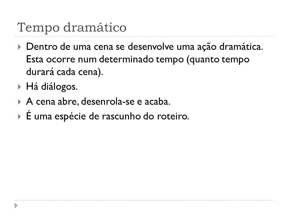 Tempo dramático Dentro de uma cena se desenvolve uma ação dramática. Esta ocorre num determinado tempo (quanto tempo durará cada cena).