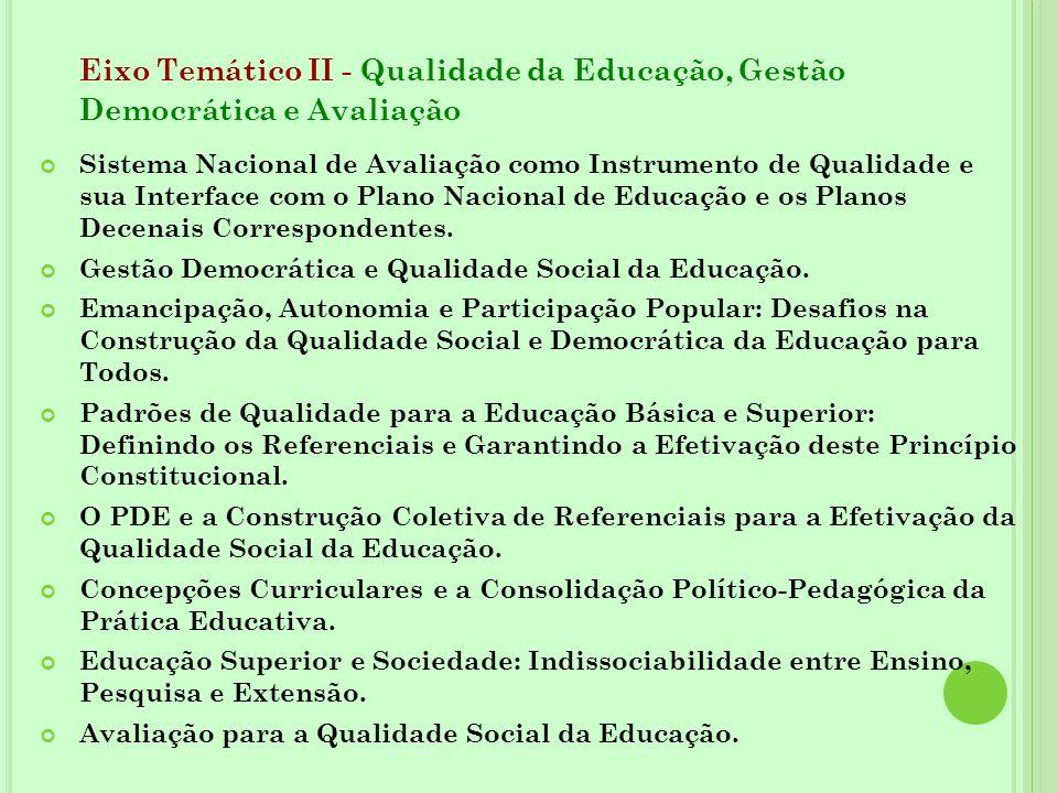Eixo Temático II - Qualidade da Educação, Gestão Democrática e Avaliação