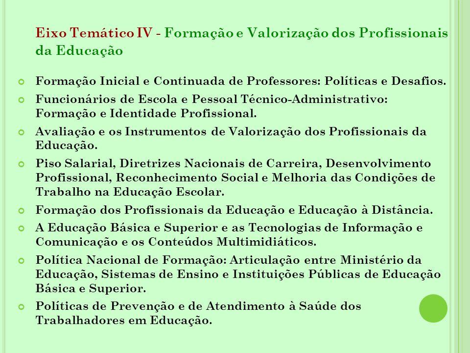 Eixo Temático IV - Formação e Valorização dos Profissionais da Educação