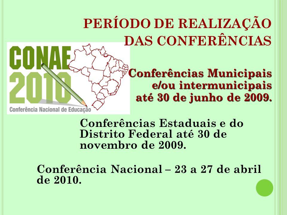 PERÍODO DE REALIZAÇÃO DAS CONFERÊNCIAS Conferências Municipais