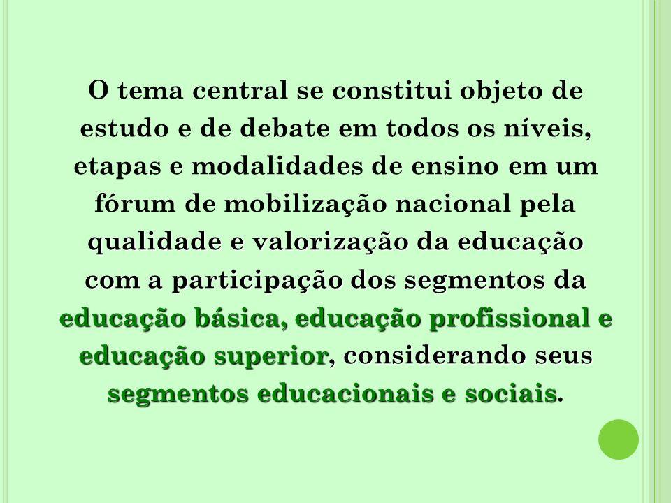 O tema central se constitui objeto de estudo e de debate em todos os níveis, etapas e modalidades de ensino em um fórum de mobilização nacional pela qualidade e valorização da educação com a participação dos segmentos da educação básica, educação profissional e educação superior, considerando seus segmentos educacionais e sociais.
