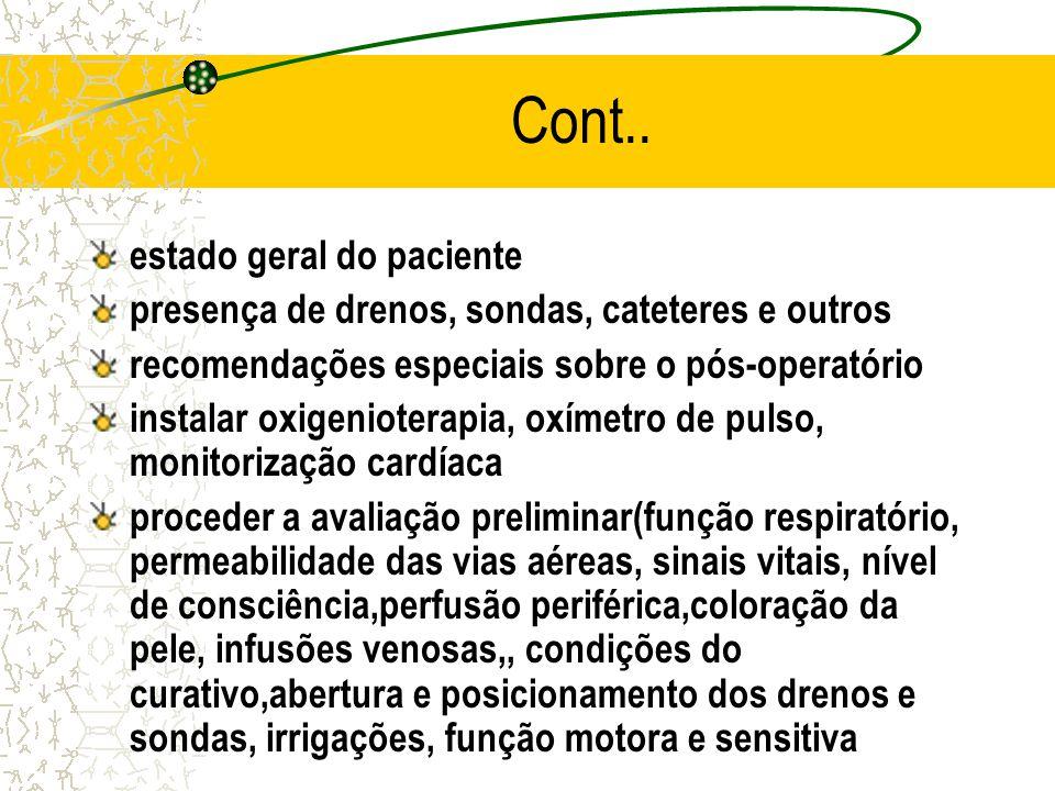 Cont.. estado geral do paciente