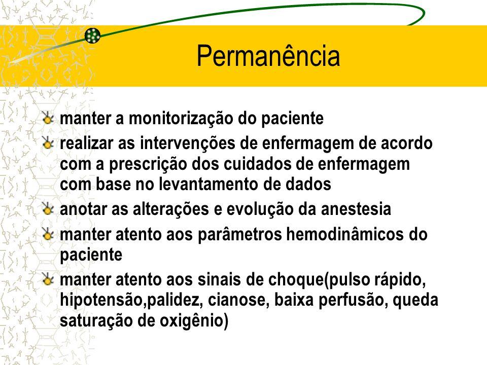 Permanência manter a monitorização do paciente