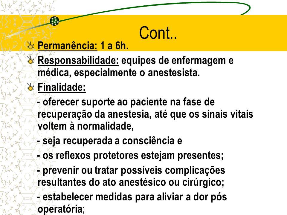 Cont.. Permanência: 1 a 6h. Responsabilidade: equipes de enfermagem e médica, especialmente o anestesista.
