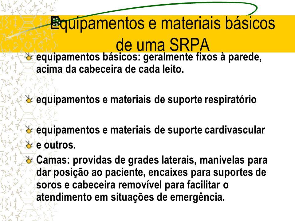 Equipamentos e materiais básicos de uma SRPA