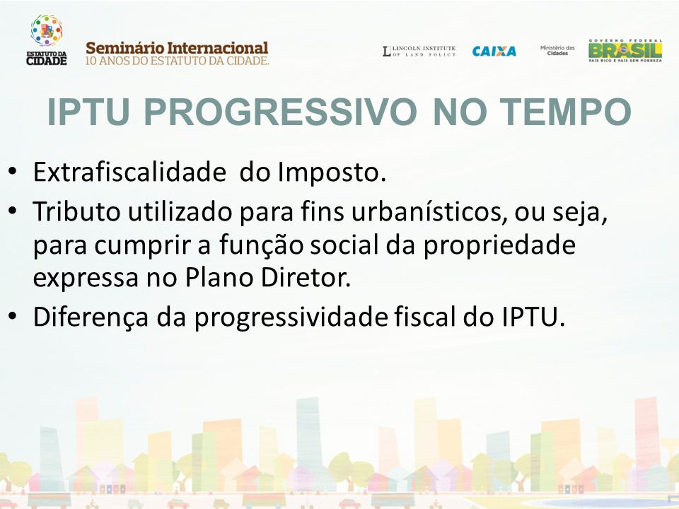 IPTU PROGRESSIVO NO TEMPO