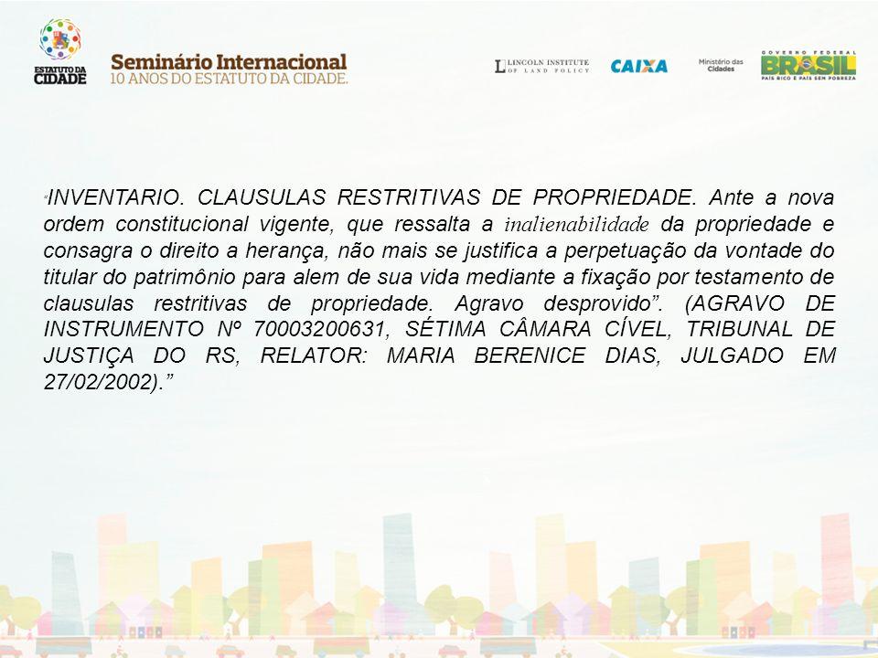 INVENTARIO. CLAUSULAS RESTRITIVAS DE PROPRIEDADE