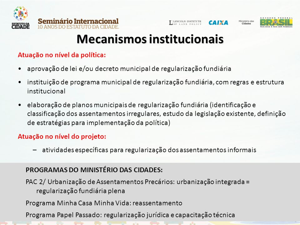 Mecanismos institucionais