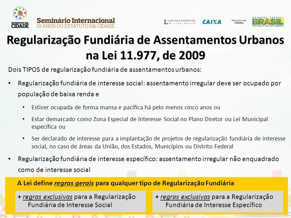 Regularização Fundiária de Assentamentos Urbanos na Lei 11