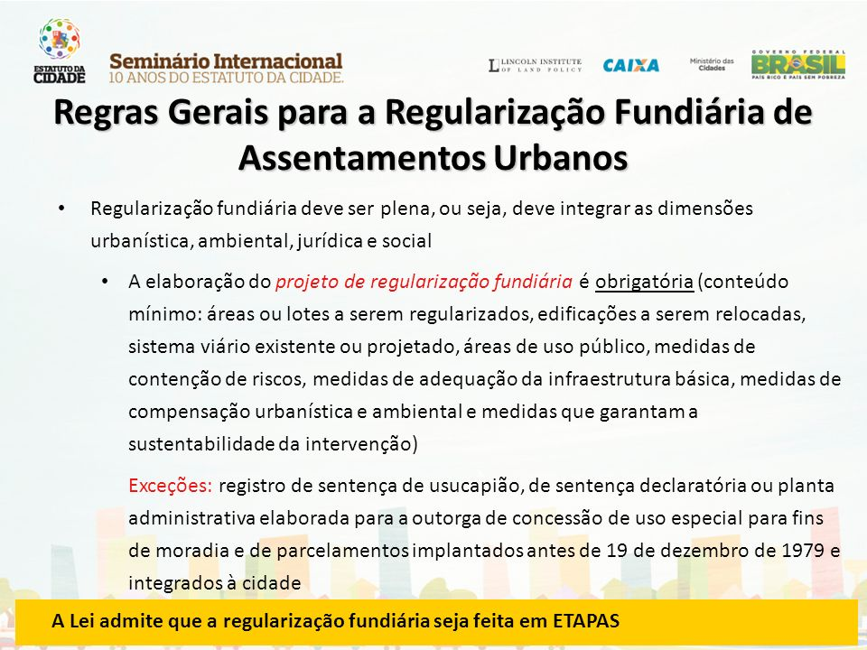 Regras Gerais para a Regularização Fundiária de Assentamentos Urbanos