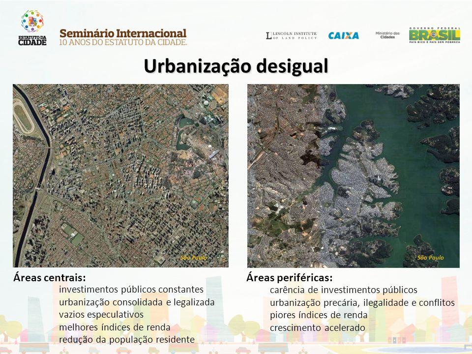 Urbanização desigual Áreas centrais: Áreas periféricas: