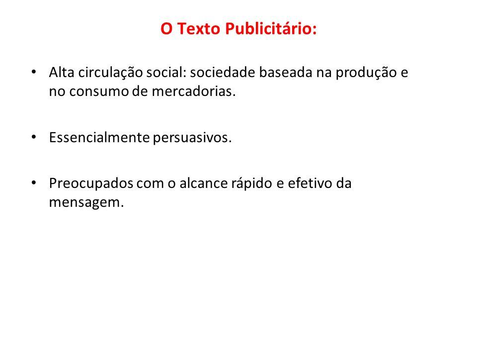 O Texto Publicitário:Alta circulação social: sociedade baseada na produção e no consumo de mercadorias.