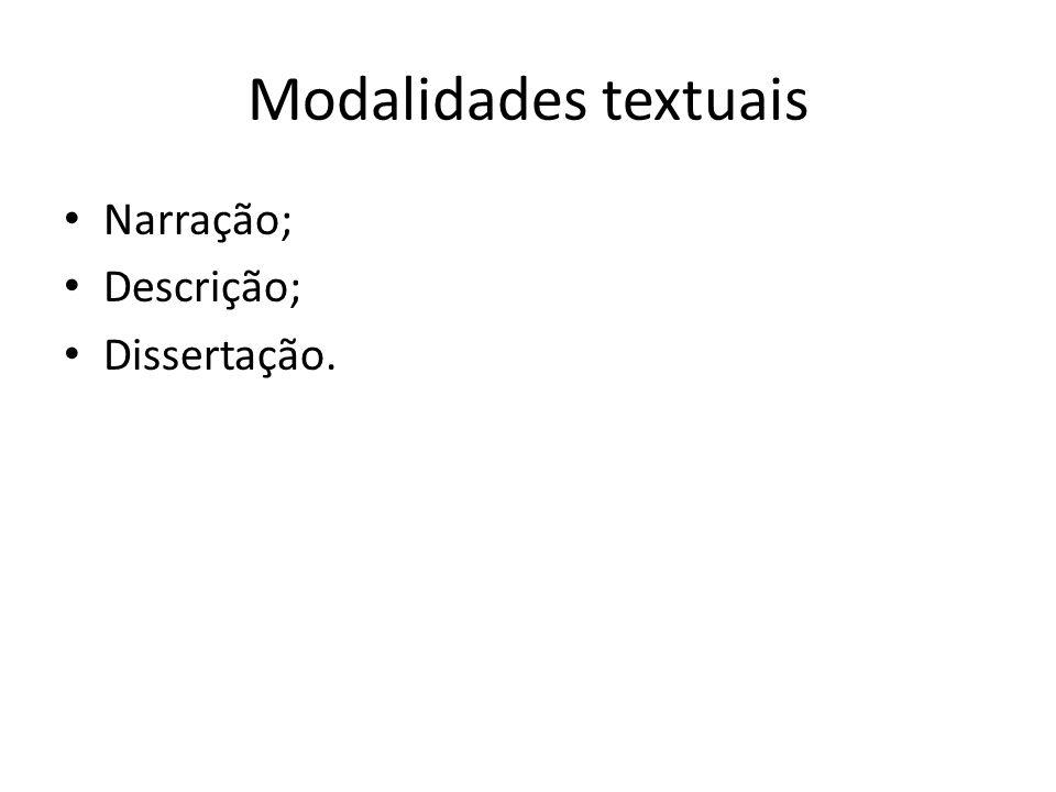 Modalidades textuais Narração; Descrição; Dissertação.