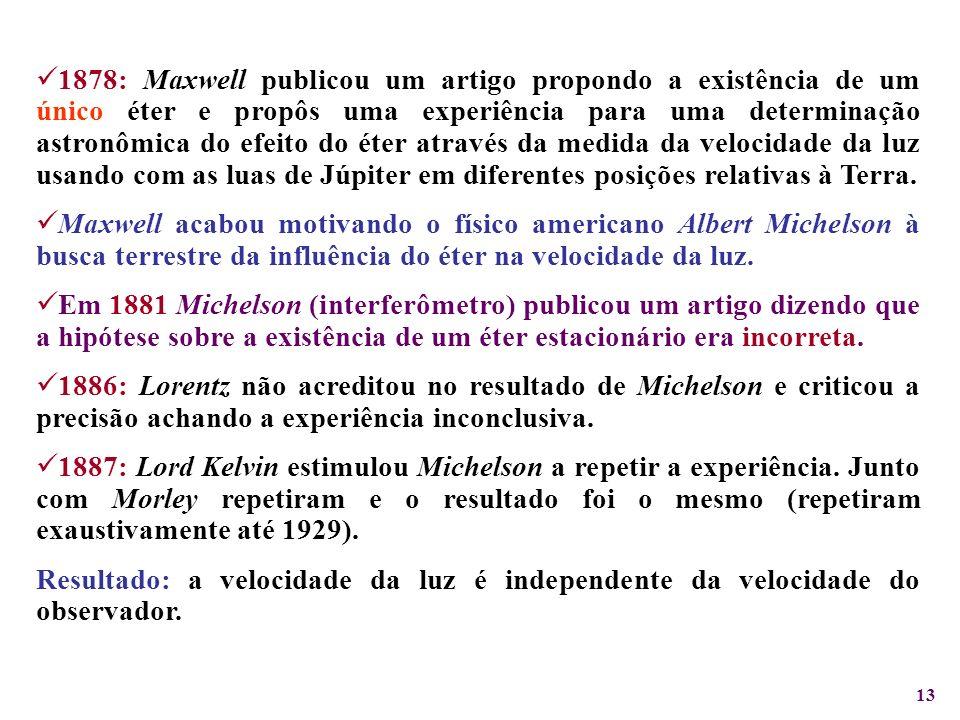 1878: Maxwell publicou um artigo propondo a existência de um único éter e propôs uma experiência para uma determinação astronômica do efeito do éter através da medida da velocidade da luz usando com as luas de Júpiter em diferentes posições relativas à Terra.