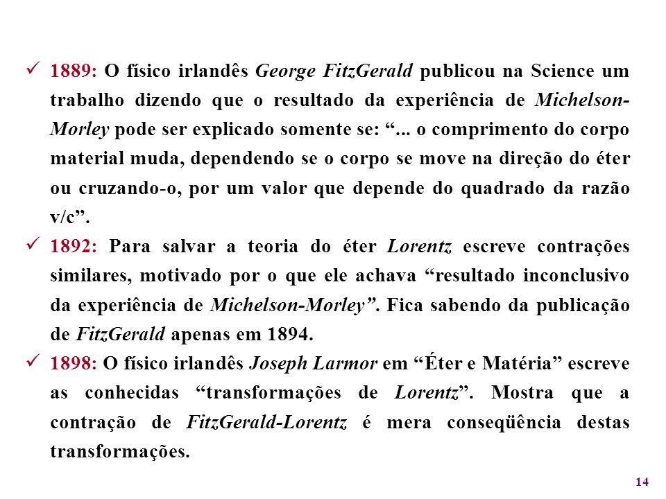 1889: O físico irlandês George FitzGerald publicou na Science um trabalho dizendo que o resultado da experiência de Michelson-Morley pode ser explicado somente se: ... o comprimento do corpo material muda, dependendo se o corpo se move na direção do éter ou cruzando-o, por um valor que depende do quadrado da razão v/c .