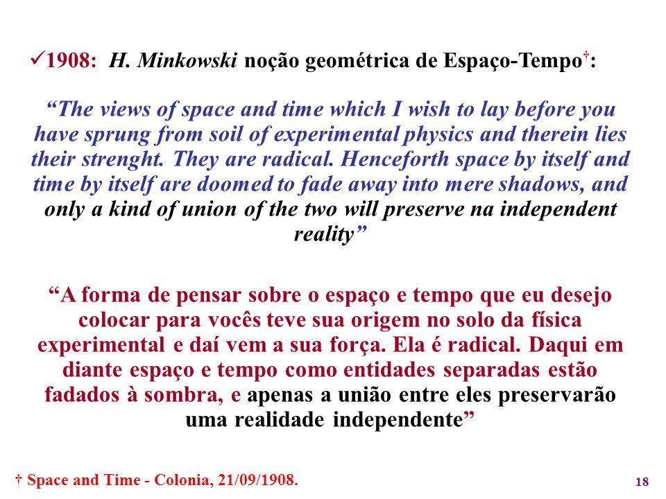 1908: H. Minkowski noção geométrica de Espaço-Tempo†: