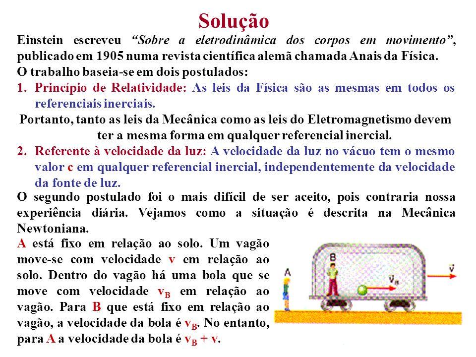 Solução Einstein escreveu Sobre a eletrodinâmica dos corpos em movimento , publicado em 1905 numa revista científica alemã chamada Anais da Física.