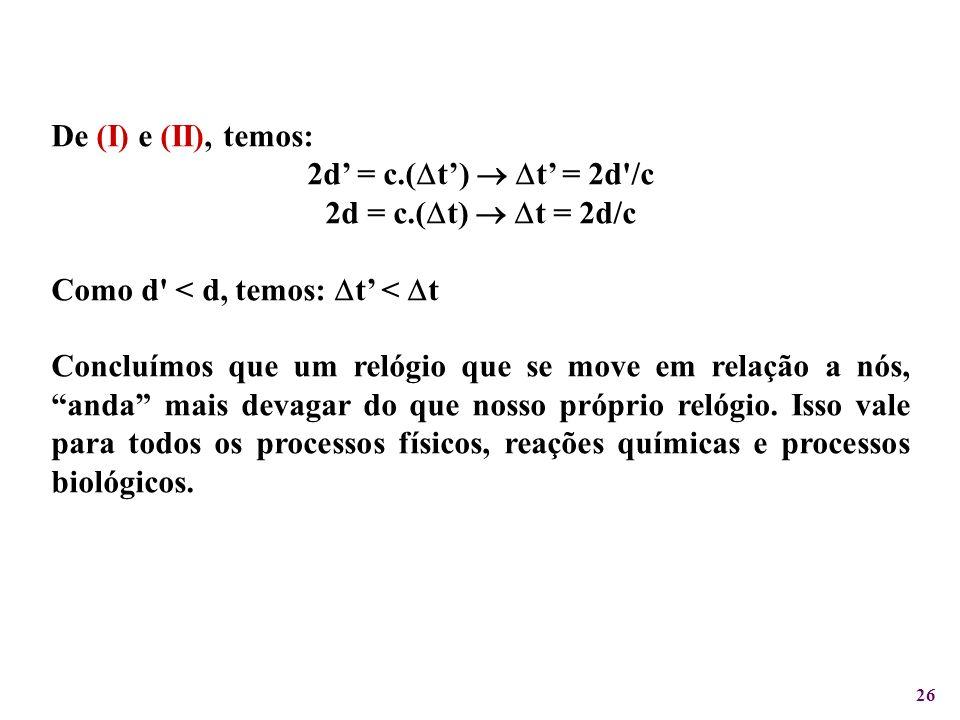 De (I) e (II), temos: 2d' = c.(t')  t' = 2d /c. 2d = c.(t)  t = 2d/c. Como d < d, temos: t' < t.