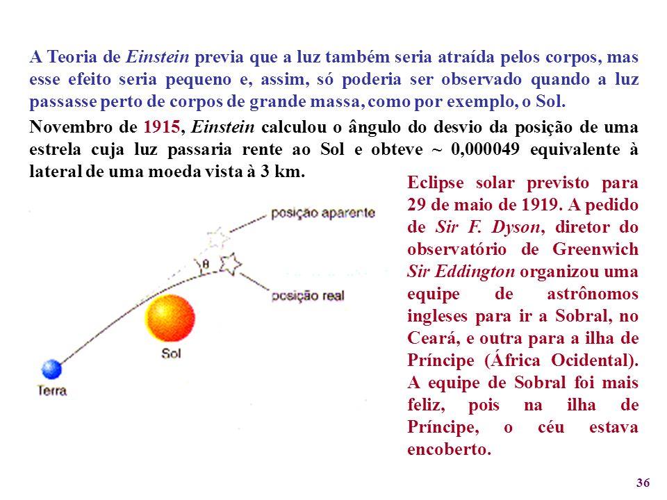 A Teoria de Einstein previa que a luz também seria atraída pelos corpos, mas esse efeito seria pequeno e, assim, só poderia ser observado quando a luz passasse perto de corpos de grande massa, como por exemplo, o Sol.