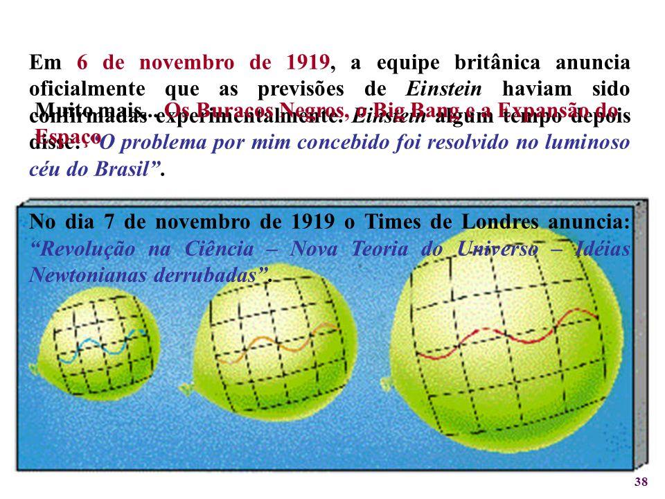 Em 6 de novembro de 1919, a equipe britânica anuncia oficialmente que as previsões de Einstein haviam sido confirmadas experimentalmente. Einstein algum tempo depois disse: O problema por mim concebido foi resolvido no luminoso céu do Brasil .
