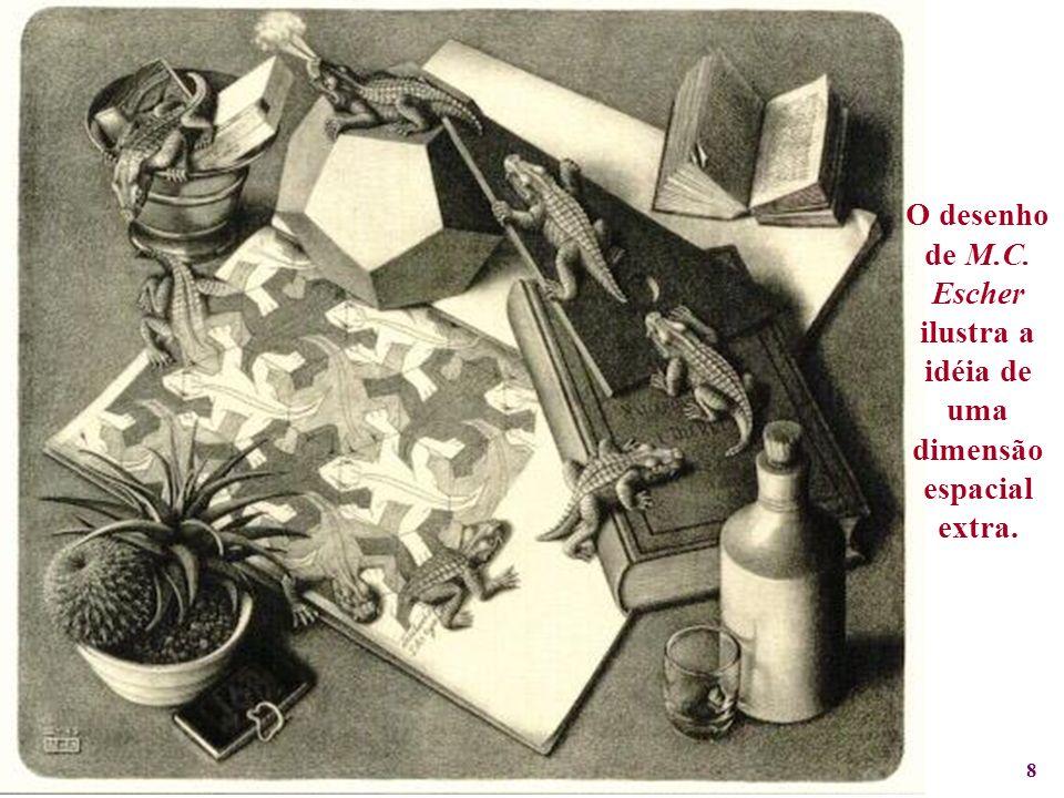 O desenho de M.C. Escher ilustra a idéia de uma dimensão espacial extra.