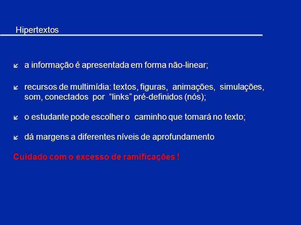 Hipertextos a informação é apresentada em forma não-linear;
