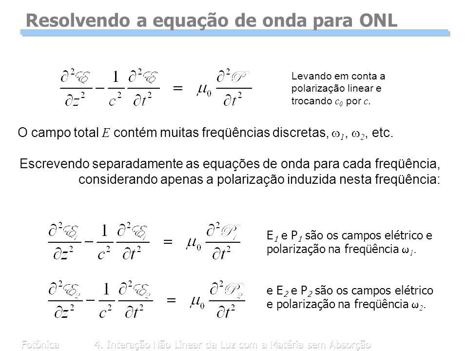 Resolvendo a equação de onda para ONL