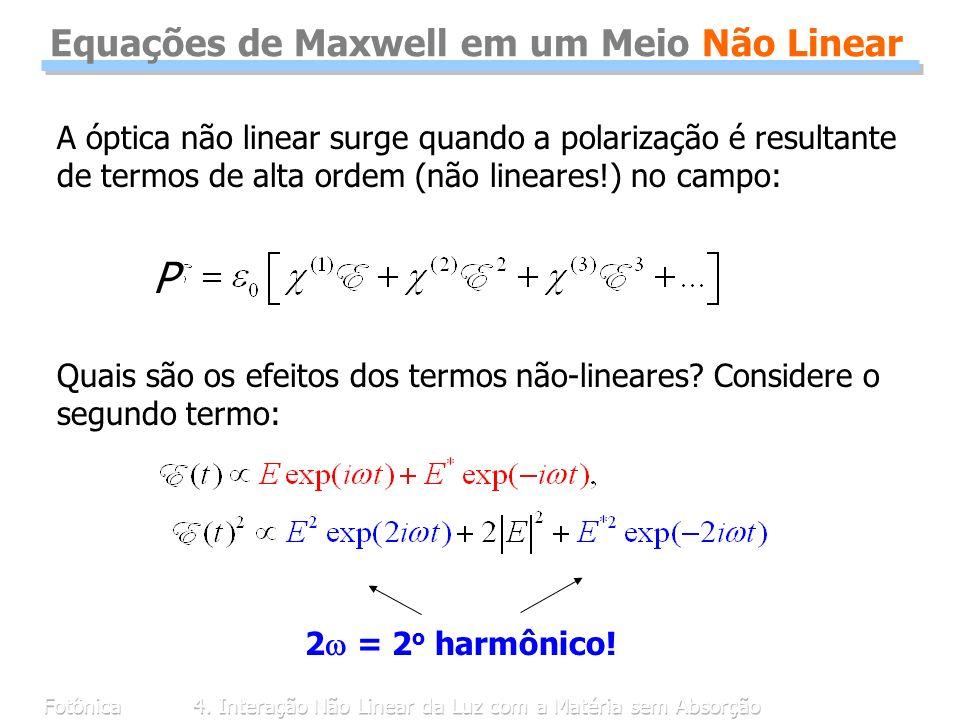 Equações de Maxwell em um Meio Não Linear