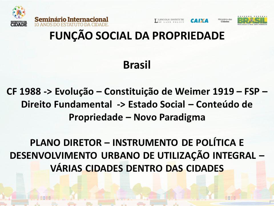 FUNÇÃO SOCIAL DA PROPRIEDADE Brasil CF 1988 -> Evolução – Constituição de Weimer 1919 – FSP – Direito Fundamental -> Estado Social – Conteúdo de Propriedade – Novo Paradigma PLANO DIRETOR – INSTRUMENTO DE POLÍTICA E DESENVOLVIMENTO URBANO DE UTILIZAÇÃO INTEGRAL – VÁRIAS CIDADES DENTRO DAS CIDADES
