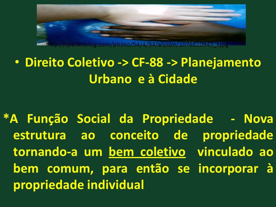 Direito Coletivo -> CF-88 -> Planejamento Urbano e à Cidade