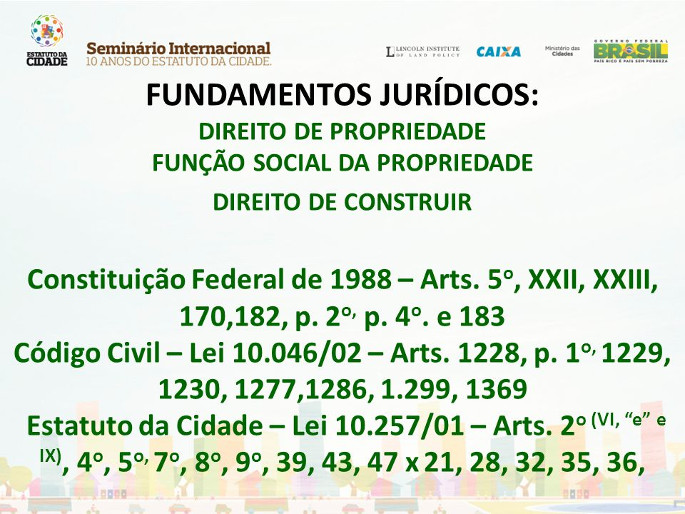 FUNDAMENTOS JURÍDICOS: DIREITO DE PROPRIEDADE FUNÇÃO SOCIAL DA PROPRIEDADE DIREITO DE CONSTRUIR Constituição Federal de 1988 – Arts.
