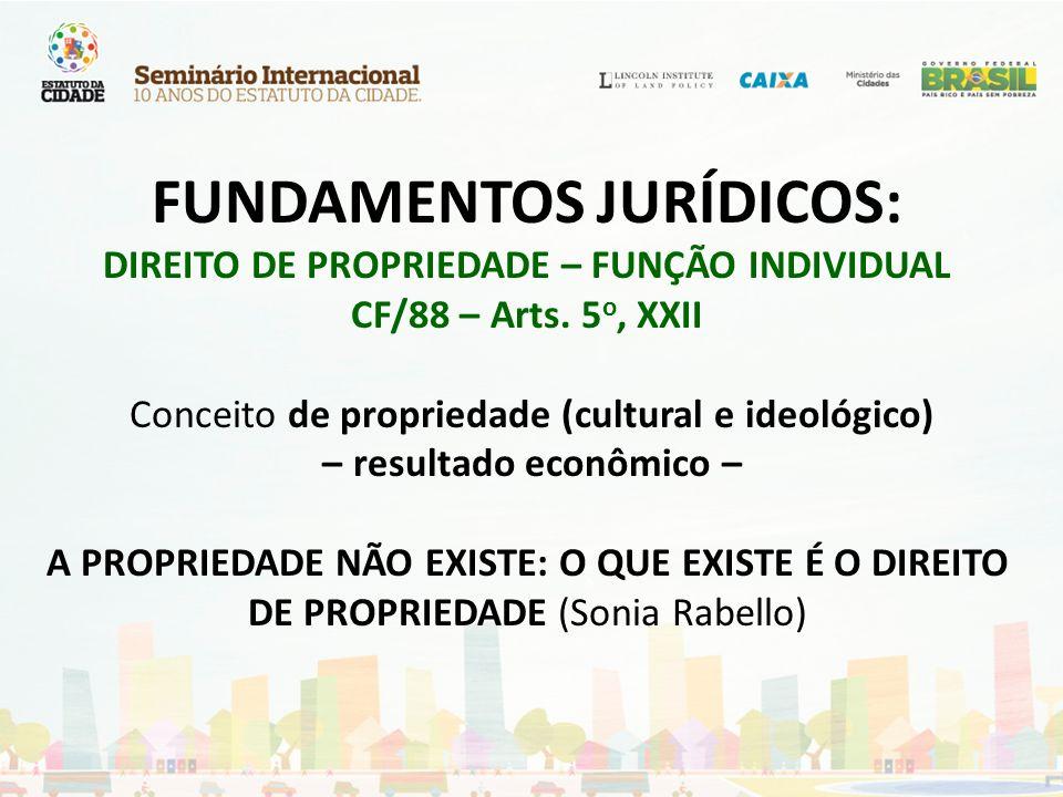 FUNDAMENTOS JURÍDICOS: DIREITO DE PROPRIEDADE – FUNÇÃO INDIVIDUAL CF/88 – Arts.