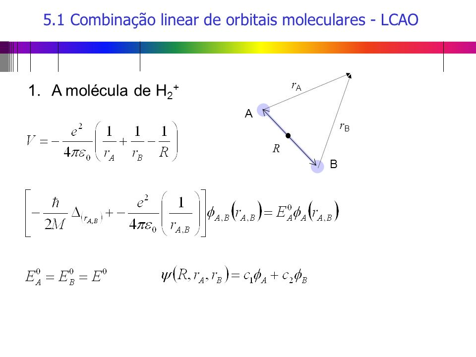 5.1 Combinação linear de orbitais moleculares - LCAO