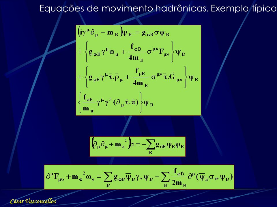 Equações de movimento hadrônicas. Exemplo típico: