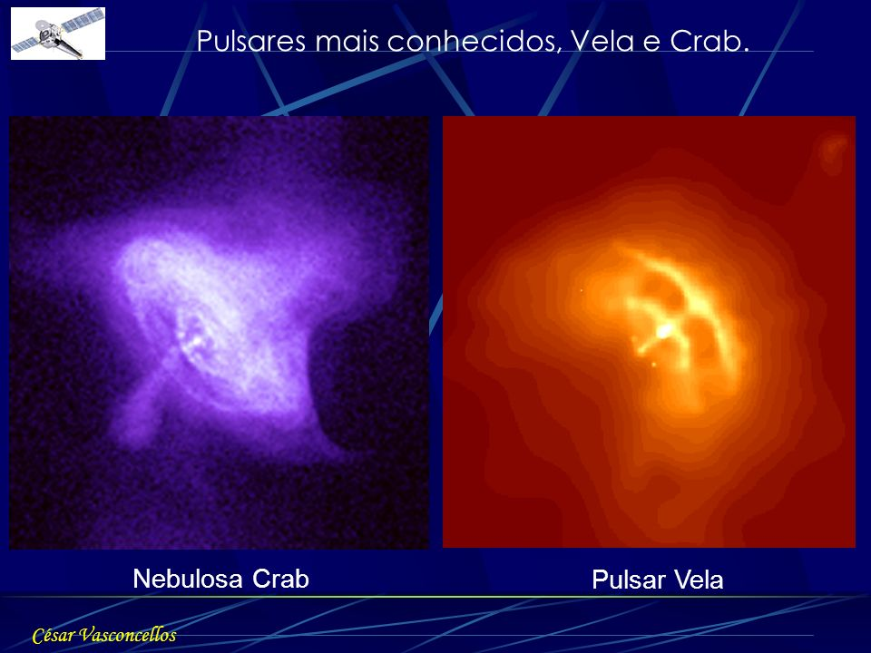 Pulsares mais conhecidos, Vela e Crab.