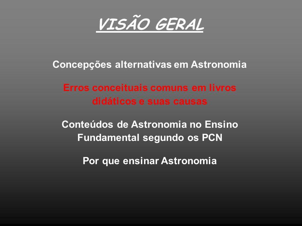VISÃO GERAL Concepções alternativas em Astronomia