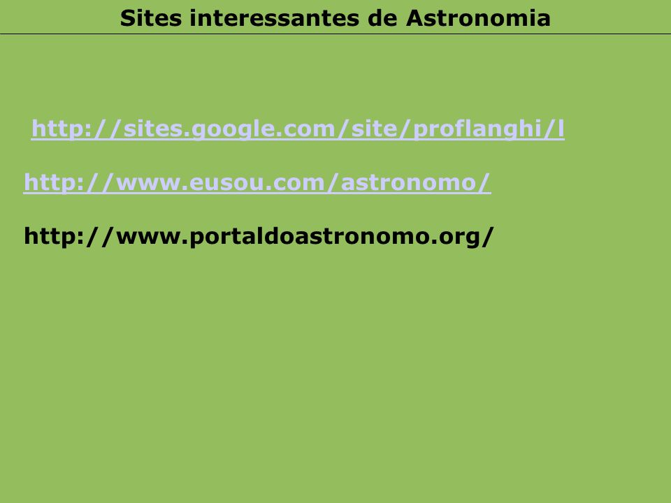 Sites interessantes de Astronomia