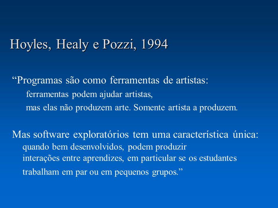 Hoyles, Healy e Pozzi, 1994 Programas são como ferramentas de artistas: ferramentas podem ajudar artistas,