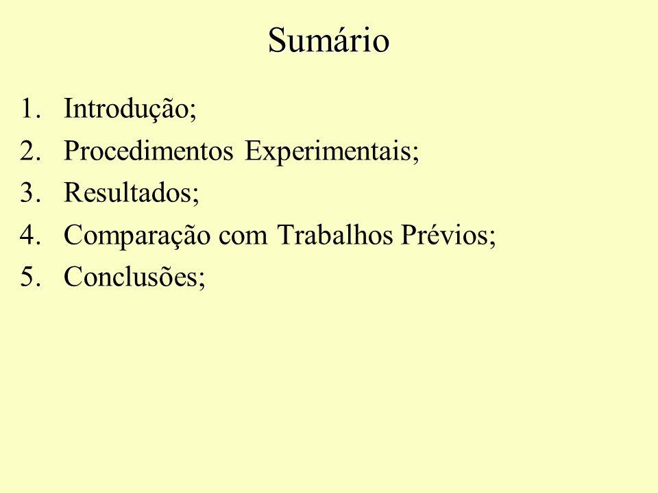 Sumário Introdução; Procedimentos Experimentais; Resultados;