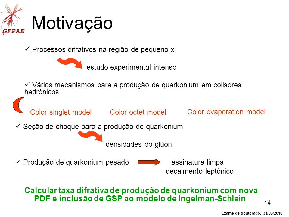 Motivação Processos difrativos na região de pequeno-x. estudo experimental intenso.