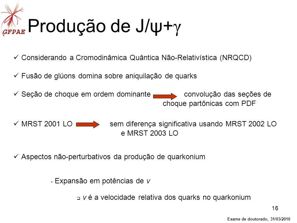 Produção de J/ψ+γConsiderando a Cromodinâmica Quântica Não-Relativística (NRQCD) Fusão de glúons domina sobre aniquilação de quarks.