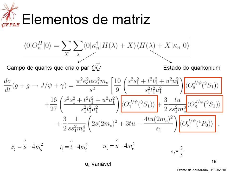 Elementos de matriz Campo de quarks que cria o par
